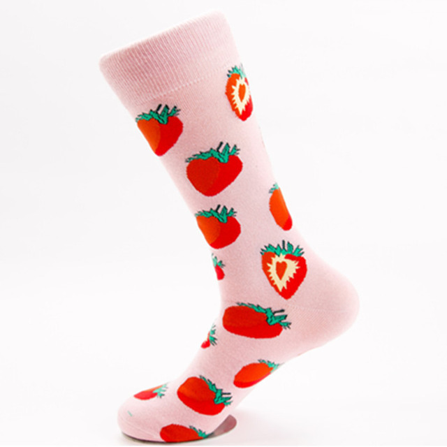 PEONFLY Men Personality Fashion Colorful Strawberry Pattern Happy skate Sock Autumn Winter High Quality Casual Cotton Male Socks