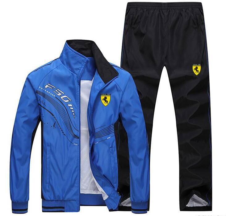 Hommes survêtement Sport mince veste manteau Top costume ensemble pantalon pantalons Sweats costumes Sportwear automne printemps sweat 6 couleurs - 5