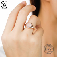 SA SILVERAGE 925 Sterling Silver Rose Gold Plated Party Jewelry 2018 Ring For Women Fine Jewelry