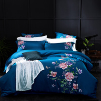 blue luxury Peony Rose Butterfly Embroidery 60S Egyptian Cotton Bedding Set Queen King Size Duvet Cover Bed sheet Pillowcases