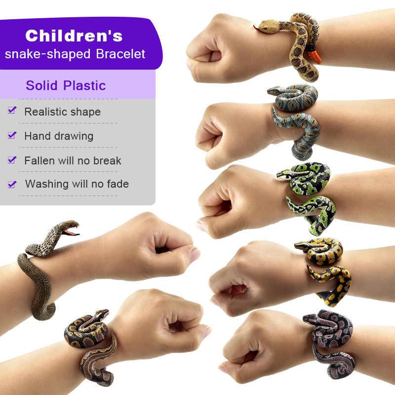 Simulação cobra Pulseira animal modelo figura de ação de plástico Decoração Gift toy educacionais Para crianças dos miúdos das meninas dos meninos