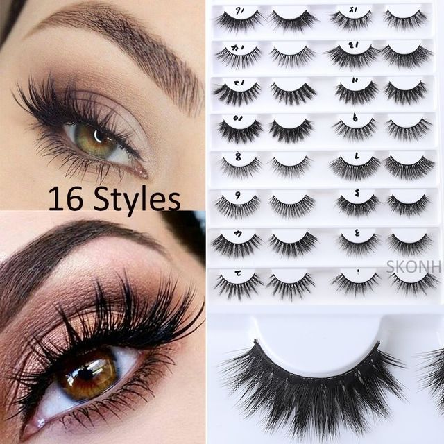 d58052bff40 1 Pair 3D Faux Mink Hair Handmade 16 Styles False Eyelashes Wispy  Longlasting Natural Thick Lashes