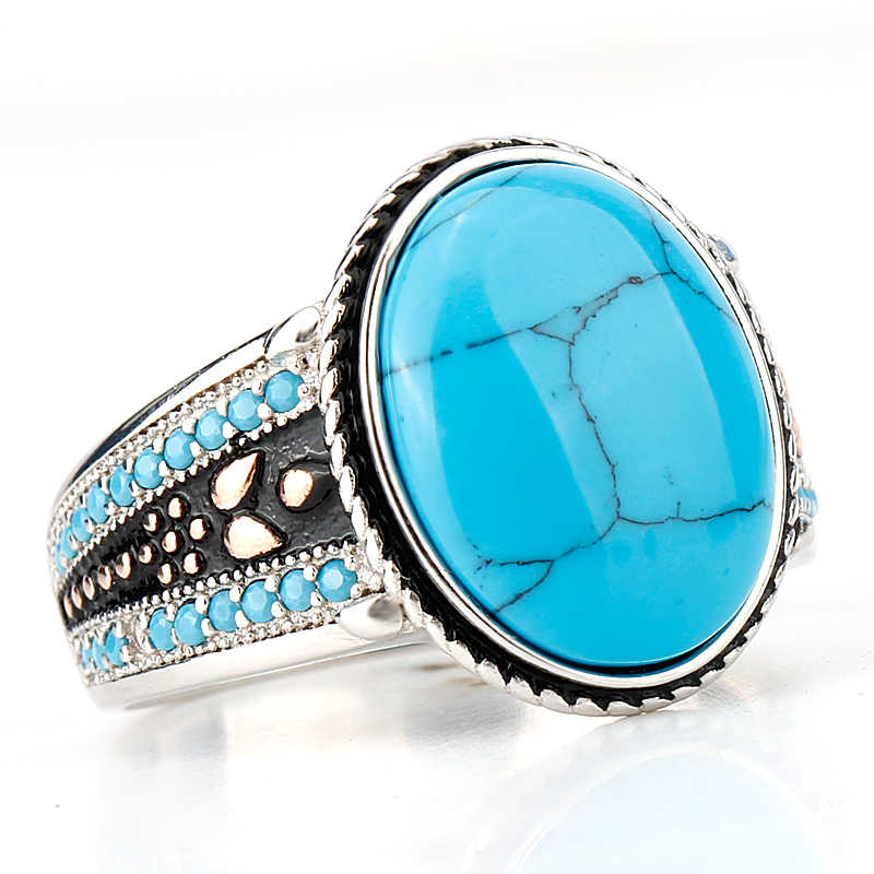 925 Sterling Silver Turquoise แหวนรูปไข่สีฟ้าหิน Life TRACK ความสำคัญแหวนผู้ชายเครื่องประดับ