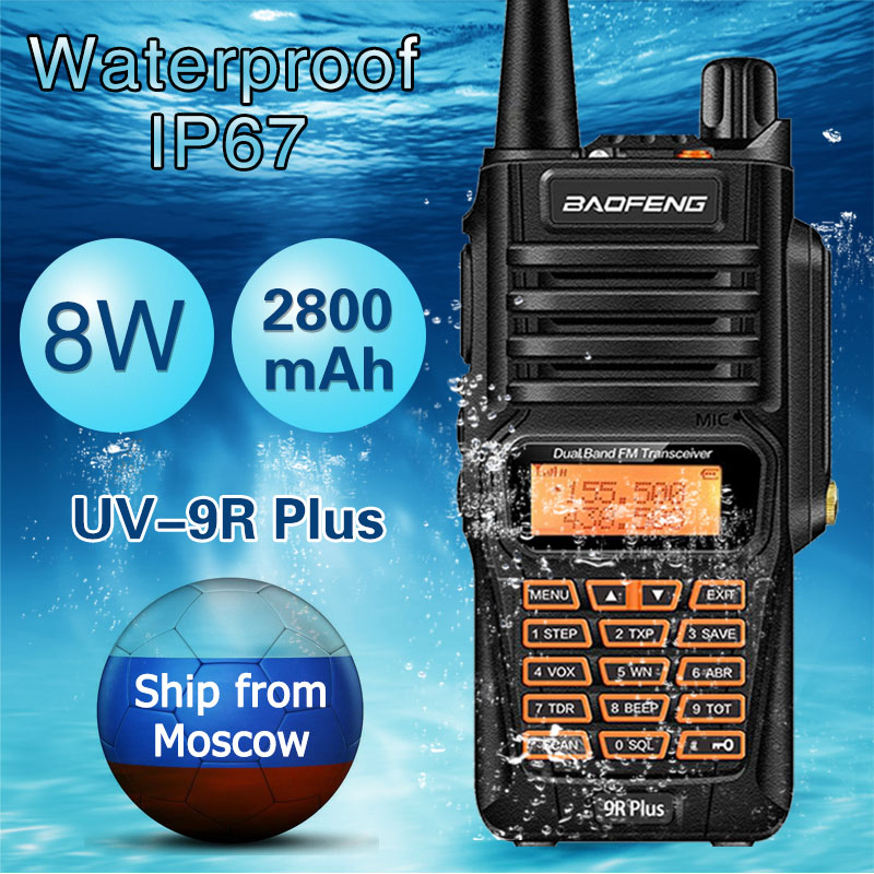 Baofeng UV-9R Plus Étanche 8 W Puissant Talkie Walkie Radio Bidirectionnelle Double Bande De Poche 10 km gamme UV9R Jambon CB radio portable