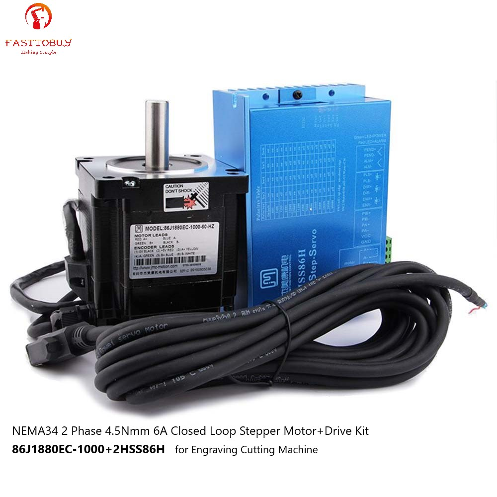 2 Phase NEMA34 4.5Nmm 5A Closed Loop Stepper Motor+Drive Kit 86J1880EC-1000+2HSS86H for Engraving Cutting Machine