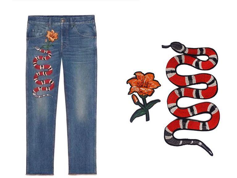 1 Unidades serpiente con patrón de flor applique bordado Parches ...