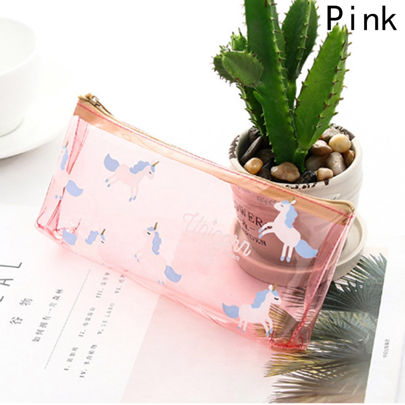Fashion Cute Transparent Waterproof Cosmetic Bag Cosmetic Bag Gel PVC Plastic Use For Pencil Case Little Horse Silica