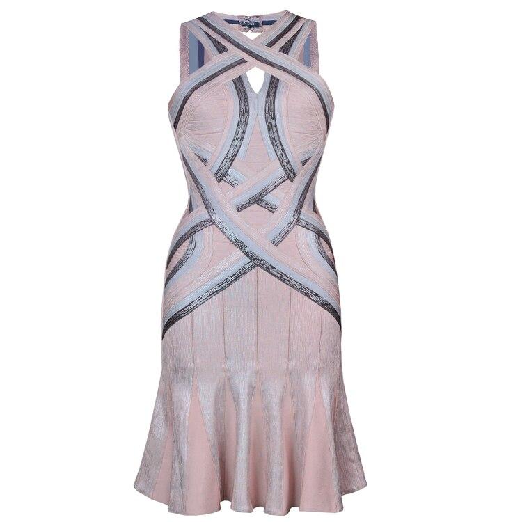 Femmes moulante robe 2018 été Sexy Bandage hors épaule Sexy haute qualité licou dos nu Bandage robe rayonne Z-10