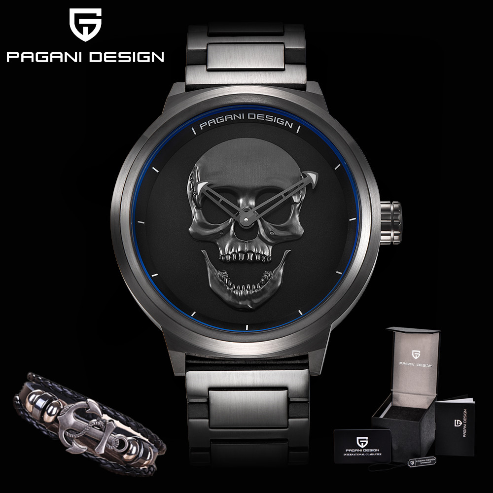 PAGANI DESIGN Fashion Punk 3D Skull Personality Retro Mens Watches Waterproof Sport Quartz Watch Relogio Masculino Dropshipping цена