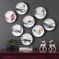 New Chinese ink style decorative plate wall decorative dish home decor crafts hanging pendant room decoration Zen crafts