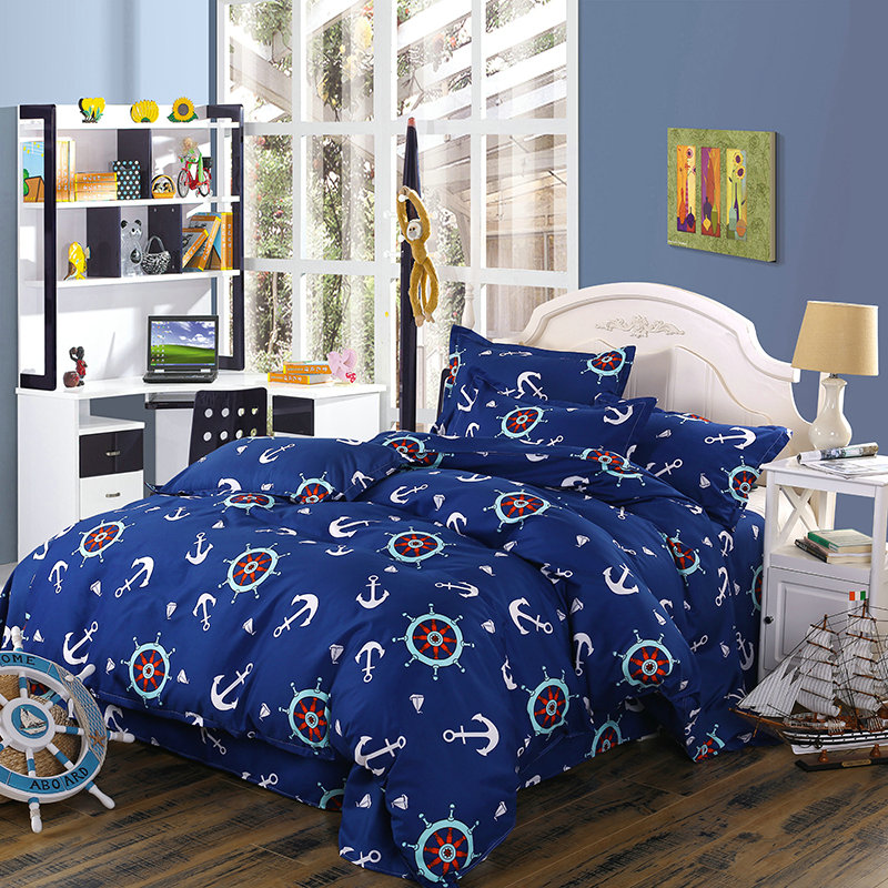 Dark Blue Pirate Ship Tuo Printing Pattern Bedding Comfortable Soft Four-Piece Quilt + Bed + Pillowcase Multi-Size Optional