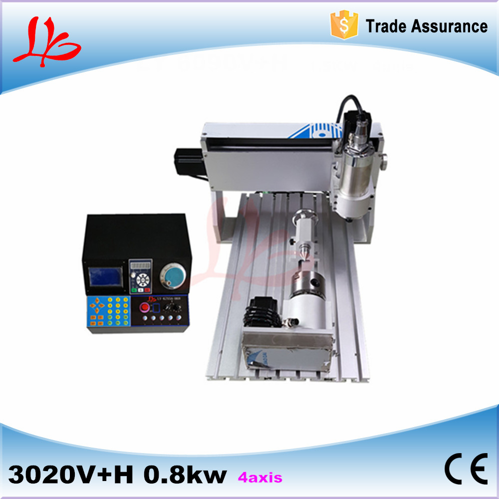 цена на mini 3d cnc router wood carving machine for sale 3020V+H 0.8KW spindle 4 axis for woodworking
