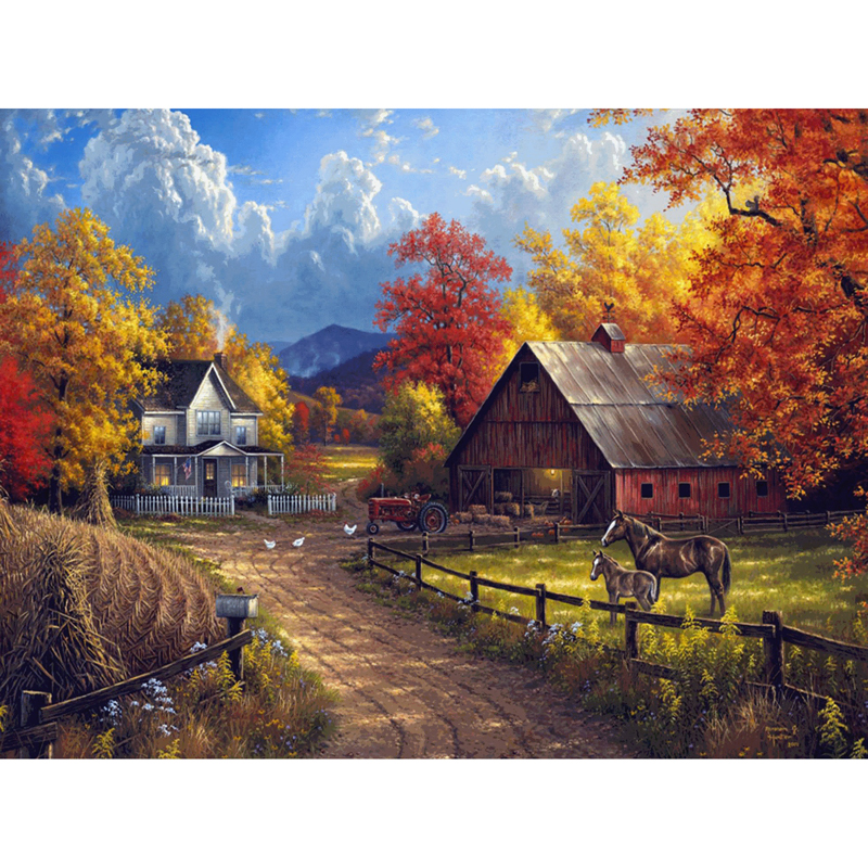 Full Diamond Embroidery Landscape Of Beautiful Farm Diy Diamond Painting American Style Decorate Livingroom Good Gift For Family
