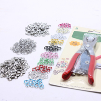 Kleurrijke kinderen kleren 9.5mm metalen drukknoop 100 sets 10 kleur met instelling tool set