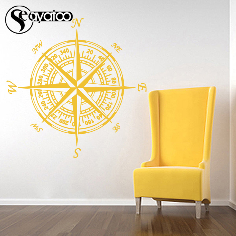 Compass Nautical Navigate Vinyl Wall Sticker Decal Kids Baby Room Nursery Home Decor 70x70cm in Wall Stickers from Home Garden