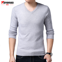TONGMAO 2018 Spring New Men S Casual Sweater V Neck Long Sleeve Solid Men Simple Style