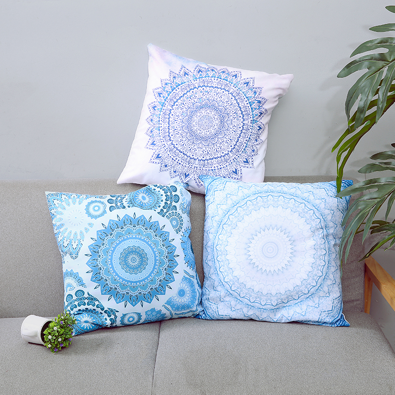 Hippie Mandala Rund Cushion Cover Pompom Bohemian Tassel Paisley Throw Pillow Meditation Decorative