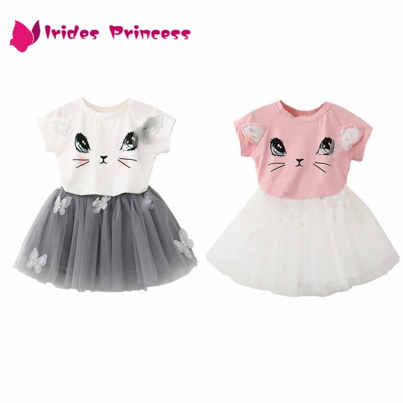 50f122369ef Φόρεμα για τα κορίτσια 2017 Μάρκα Παιδικά Ρούχα Λευκή Καρτόνι Κοντό ...