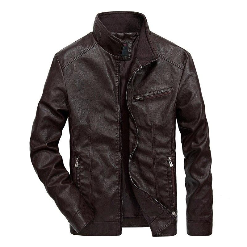 Veste en cuir hommes Slim automne col montant hommes veste en cuir PU manteau mâle moto en cuir veste décontracté hiver 2018 nouveau 5XL