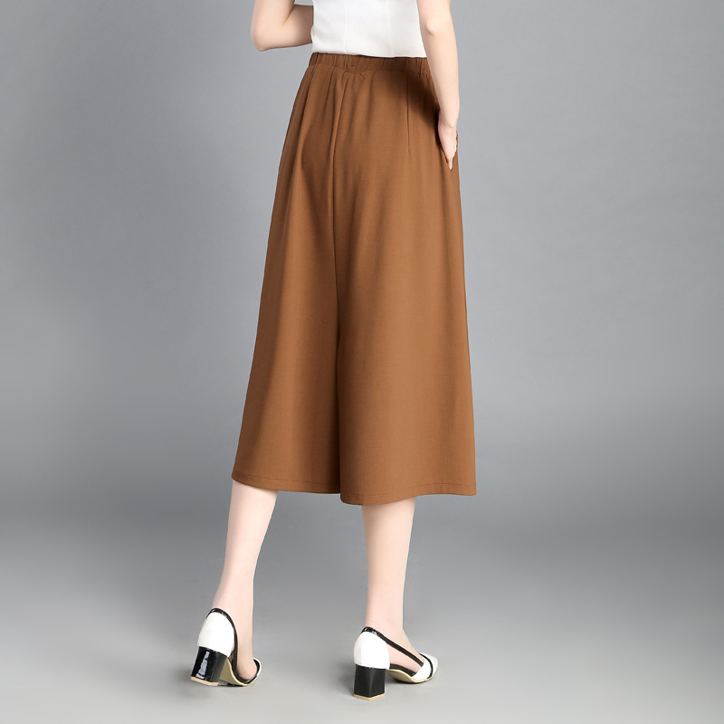 Plus Size Women Chiffon Wild Wide Leg Loose Skirt Pants 2018 Summer Calf-Length of Pants Female Thin Section Ladies Clothing