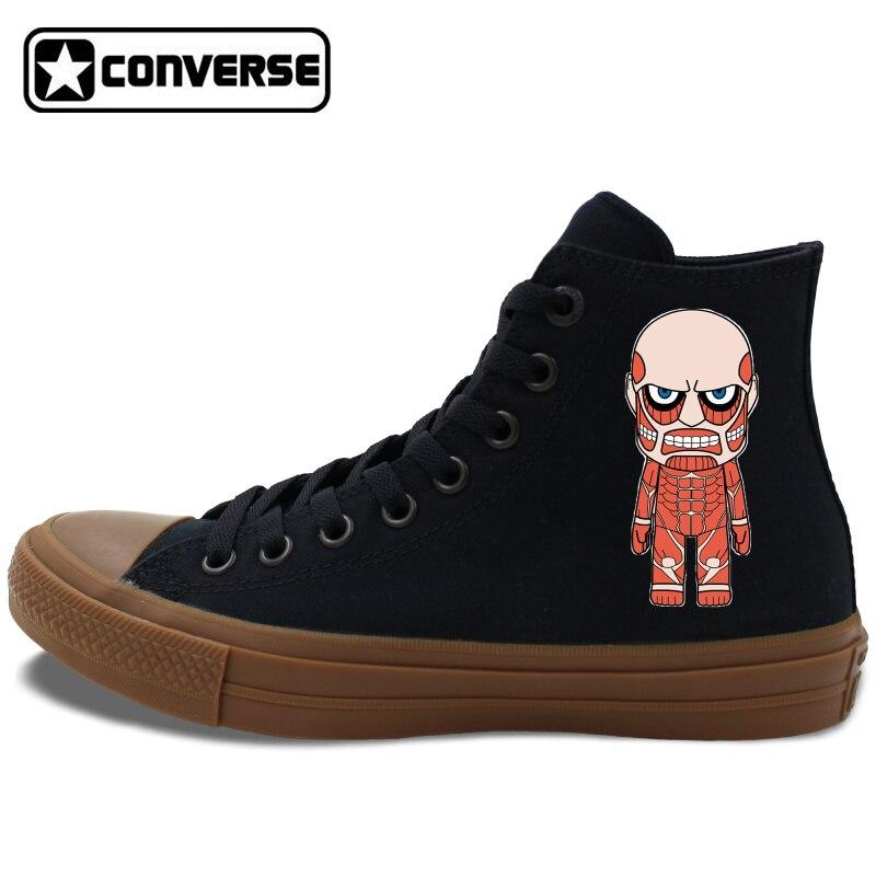 Prix pour Attaque sur Titan Conception Converse Chuck Taylor II Anime Tous Les Étoile Planche À Roulettes Chaussures Noir Blanc High Top Toile Sneakers