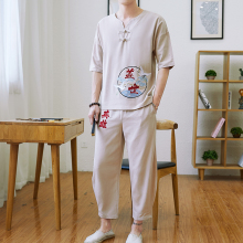 Chinese Style Embroidery Cotton And Linen Set Mens TShirts Pant 2 Pcs  Clothing