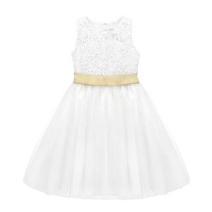 Image 4 - TiaoBug White Flower Girl Dress Kids Pageant Birthday Formal Party Lace Long Dress Bowknot First Communion Dress Prom Gown 2 12Y