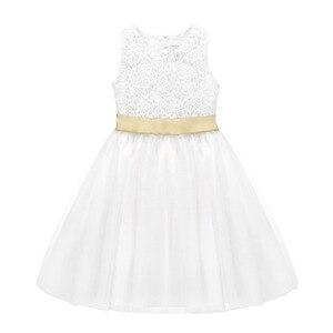 Image 4 - TiaoBug blanc fleur fille robe enfants Pageant anniversaire fête formelle dentelle longue robe noeud papillon première Communion robe robe de bal 2 12Y