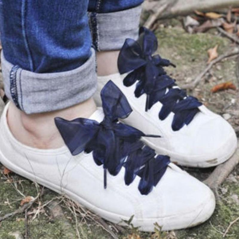 1 Pair 110cm Shoelaces Fashion Flat Lace Satin Ribbon High Density Snow Yarn Shoelaces Sport Shoes Sneakers Laces Shoe Strings
