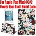 Smart case para apple ipad mini 4 3 2 flor jean tela de la pu cubierta de cuero para ipad mini4 con ranuras para tarjetas de crédito IM406