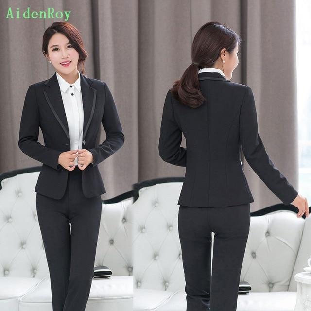 f61d0580b2 ... Trabalho Calças Blazer Define Feminino 2 3 peça conjunto Terno. Brand  Fashion Spring Autumn Office Lady Women S OL Suits Long Sleeve Slim Work  Blazer ...