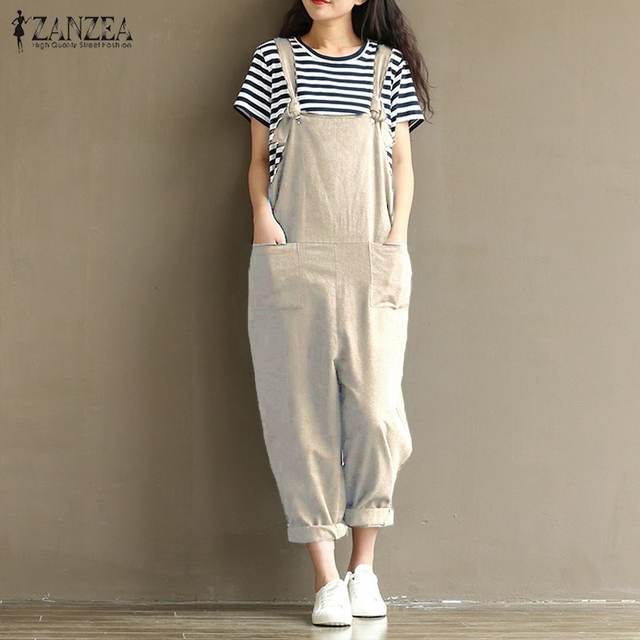 296136ceade ZANZEA 2018 Casual Rompers Womens Jumpsuits Sleeveless Backless Casual  Loose Solid Overalls Retro Strapless Playsuits Oversized