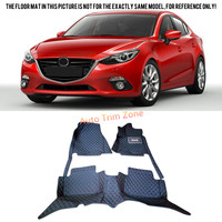 Black Interior Leather Floor Mats Carpets Foot Pads For Mazda 3 For Mazda3 Axela 2014 2016