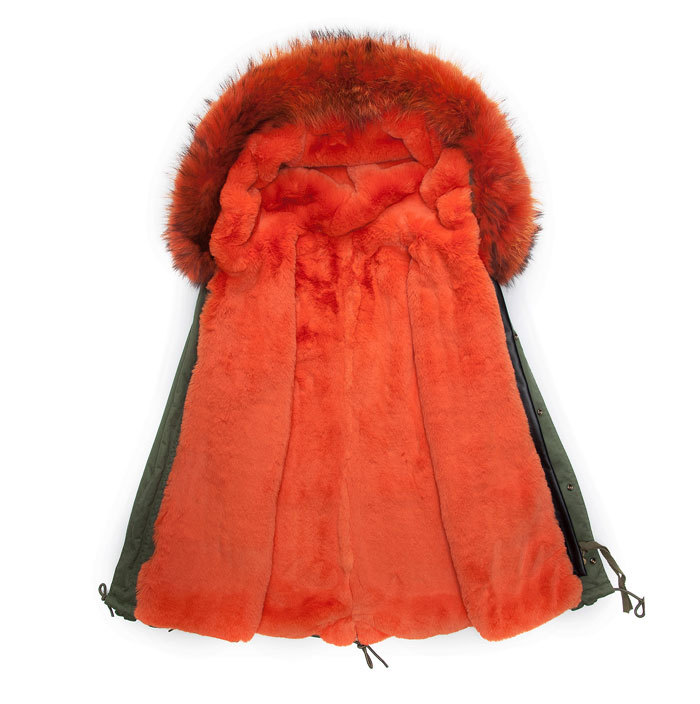 2016 winter male Parka With Removable orange Faux Fur Collar warm thicken fur coat