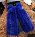 Genuine fox fur vest winter long full pelt fox fur jacekte women blue fox fur coat plus size free shipping H834