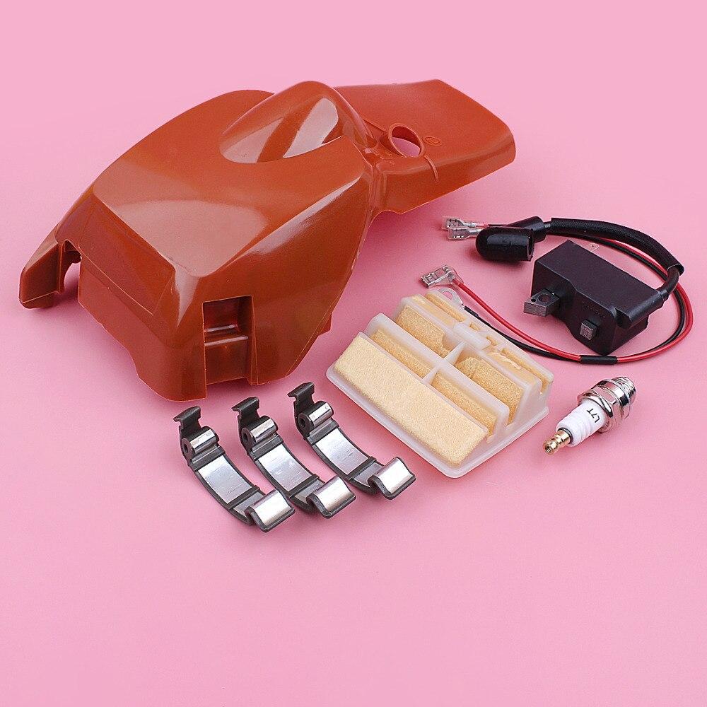Bobine d'allumage de couvercle de cylindre supérieur pour Husqvarna 445 450 Snal Clip boucle filtre à Air bougie d'allumage tronçonneuse remplacer la pièce de rechange