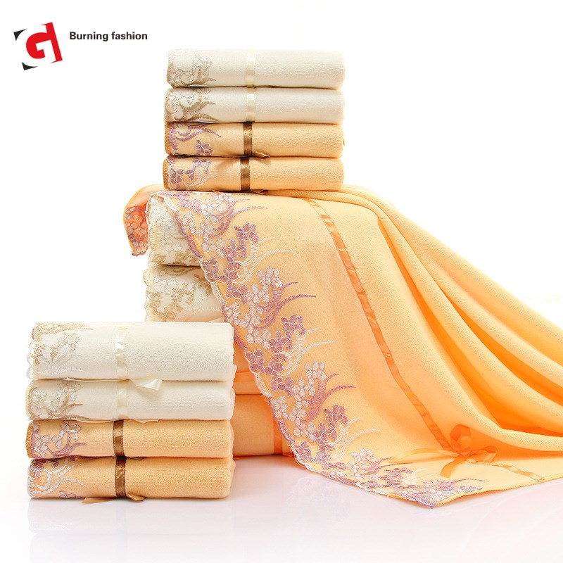 Burning Fashion 70x140cm Lovely and attractive micro fiber absorbent bath towel classic lace in Bath Towels from Home Garden