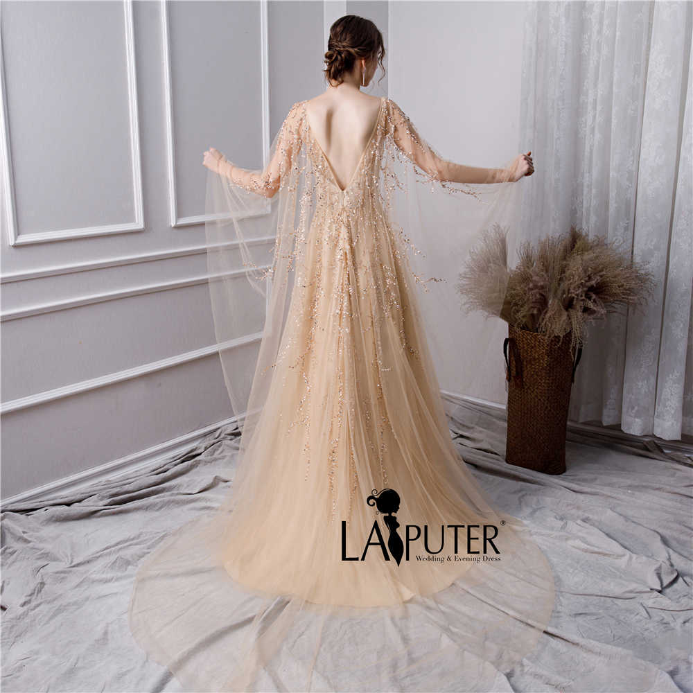 d28bd13fe2a2c ... LAIPUTER 2019 New Evening Dresses with Luxury Beading Crystal Scoop  Neck V-back Cape Champagne ...
