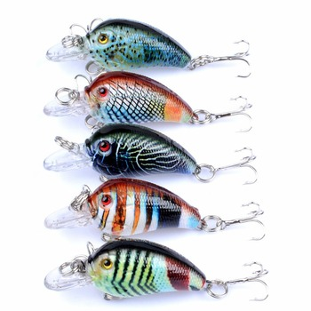 5 Color New Design Rock Fat Plastic Hard Lures Plastic Hard Crank Bait 3D Eyes For Going Fishing #274693 image