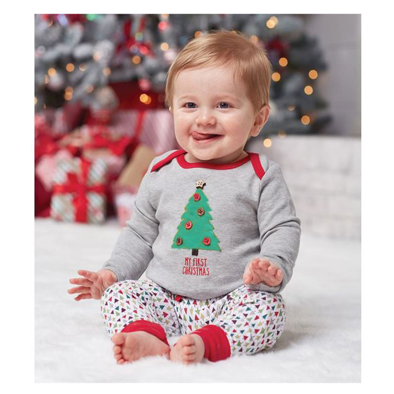 OKLADY Toddler <font><b>Baby</b></font> Clothes <font><b>Set</b></font> Boy Kids Gray Shirt Pants Christmas Tree <font><b>Tshirt</b></font> Tops Outfits Clothes <font><b>Set</b></font> Newborn <font><b>Baby</b></font> Casual <font><b>Set</b></font> image