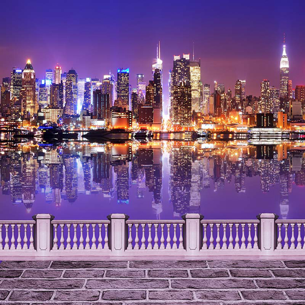 Night City Scene Bridge Photography Backdrops Printed