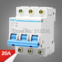 Free Shipping 2 years Warranty DZ47 60 C20 3P 20A 3 pole domestic C type small air switch unipolar Electric shock protection