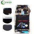 I9506 i337 lcd para samsung s4 lcd pantalla digitalizador asamblea con marco aaa teléfono móvil blanco negro azul + herramientas