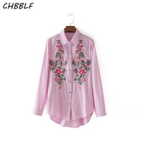 Spring New Embroidery Women Blouses Chinese Style Blouse Casual Long Sleeved Strip Shirt Women DGP8732
