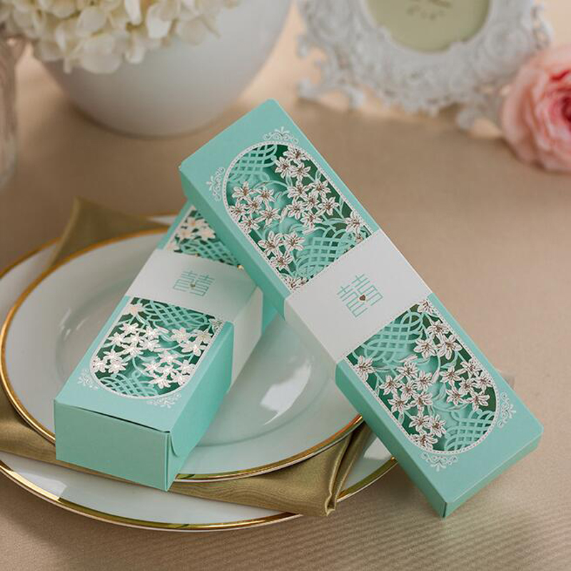 50pcs Tiffany Blue Scroll Laser Cut Box Packed Wedding Invitation Card With Butterfly Knot Printable Wedding Decoration Supplies image