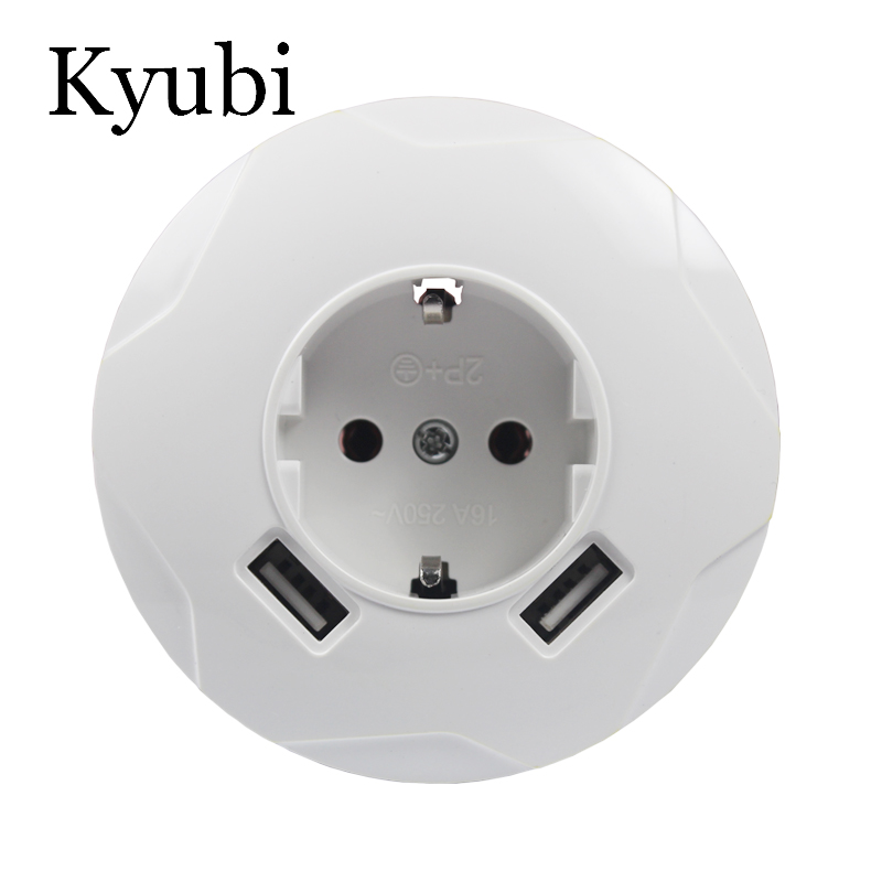 USB Wall Socket Round new Free shipping Double USB Port 5V 2A Usb pared prise electrique prise usb murale steckdose C001