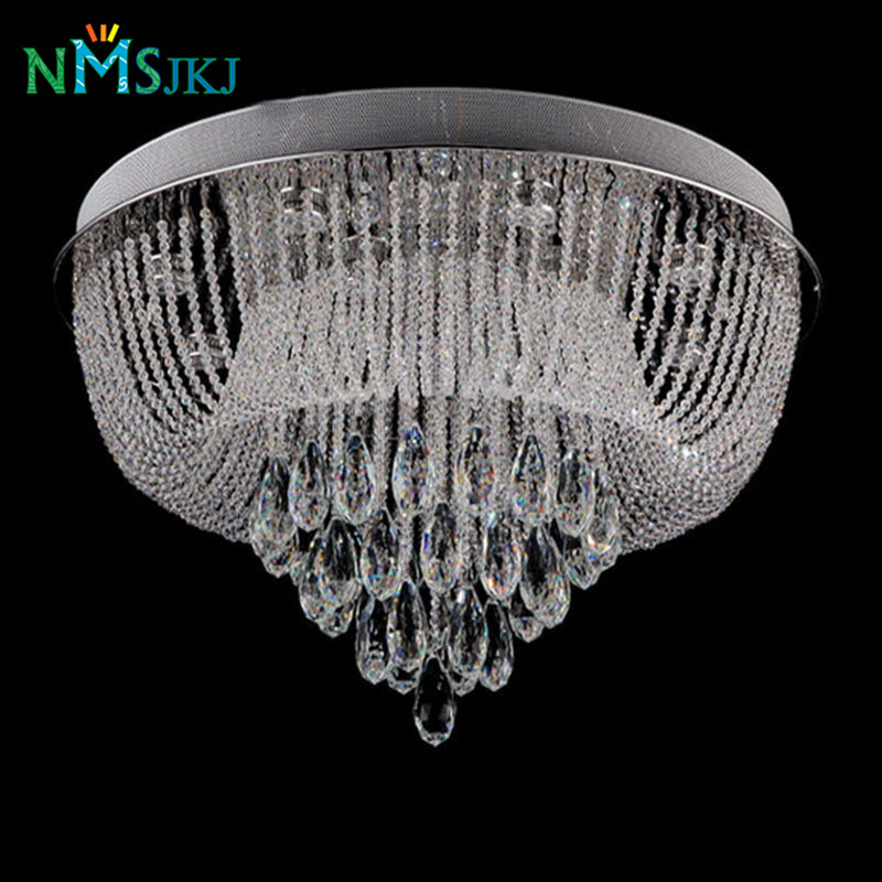 circular led crystal ceiling lights lanterns flush mounted ceiling lighting fixture hotel project lobby lamps
