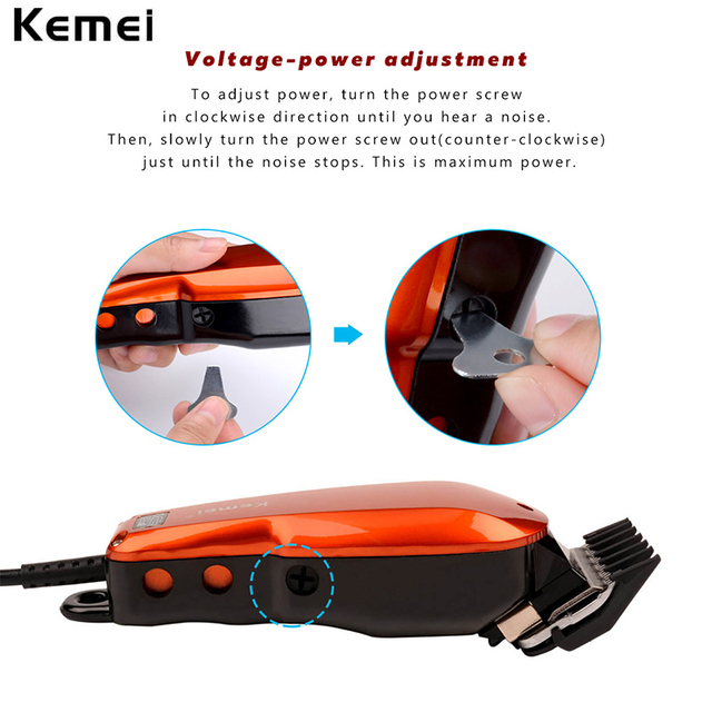 Kemei 220-240V Household Trimmer Professional Classic Haircut Corded Clipper for Men Cutting Machine with 4 Attachment Combs 40