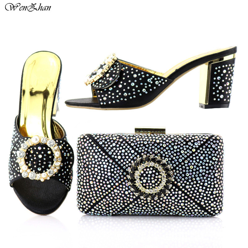 Здесь продается  WENZHAN New Arrive Black italian stones shoes match bag nigerian african soft high heel shoes with bag for wedding party B84-13  Обувь
