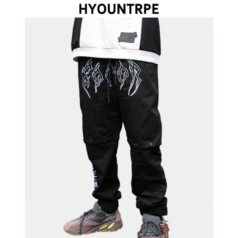 Fashion Detachable Button Pants Men Hip Hop Loose Fit Elastic Waist Joggers New Spring Summer Casual High Street Drawstring Pant